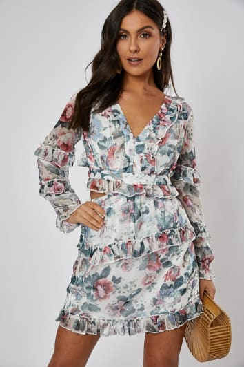ABRILLE WHITE FLORAL CUT OUT WAIST DRESS 7bbe298b3