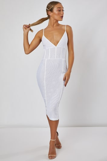 LEANDRA WHITE MESH PANELLED MIDI DRESS
