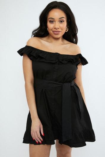CURVE EMILY ATACK BLACK FRILL SHOULDER TIE WAIST BUTTON DOWN DRESS