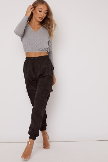 AMERZY BLACK CARGO TROUSERS