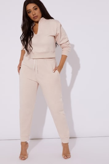 CURVE OLIVEEA PINK FLEECE BACK JOGGERS