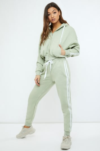 SARAH ASHCROFT SAGE GREEN OVERSIZED CONTRAST STRIPE JOGGERS