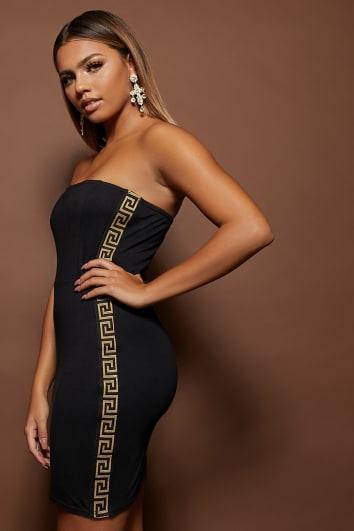 HERA BLACK GREEK KEY TAPE TRIM BANDEAU BODYCON DRESS
