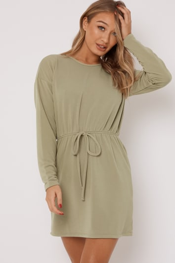 DEANIE SAGE DRAWSTRING WAIST SWEATER DRESS