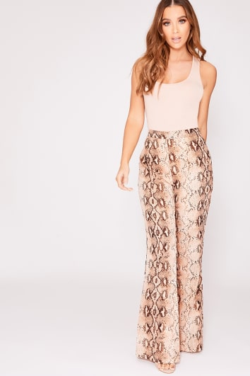 JAZIA BROWN SNAKE PRINT WIDE LEG TROUSERS