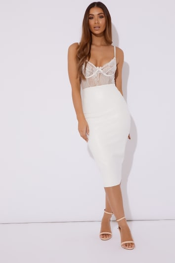 ONYX WHITE FAUX LEATHER MIDI SKIRT
