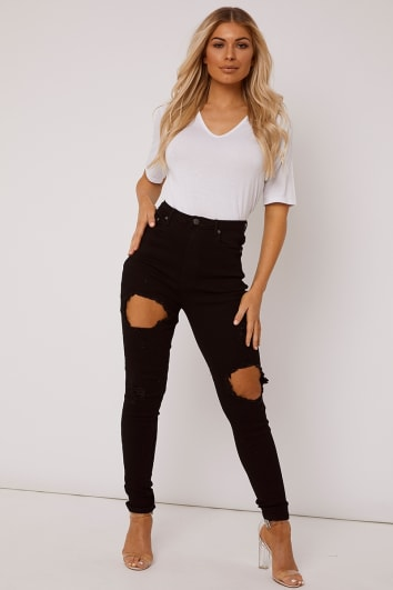 ZANEY BLACK HIGH RISE CIRCLE RIP SKINNY JEANS