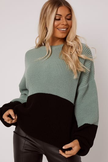 SARAH ASHCROFT GREEN COLOUR BLOCK OVERSIZED KNITTED JUMPER