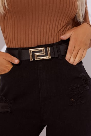 BLACK GREEK KEY BUCKLE BELT