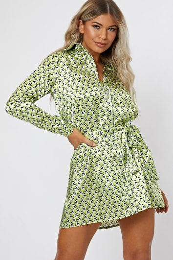 bbe47b2fc9 GITA LIME SATIN GEO SHIRT DRESS