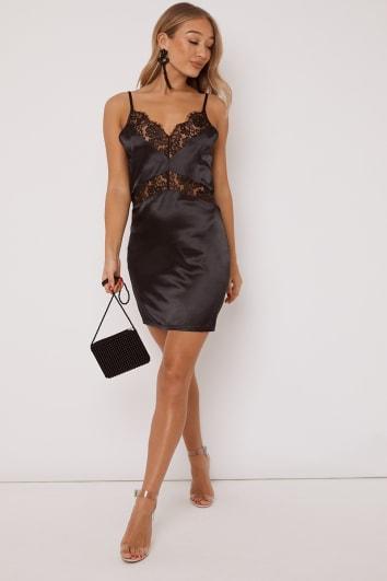 OPAL BLACK LACE TRIM SATIN SLIP DRESS