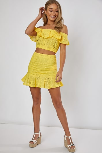 NILLY YELLOW FRILL HEM DETAIL MINI SKIRT