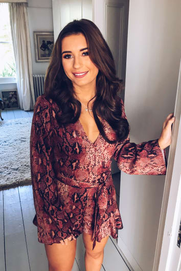 DANI DYER RUST SNAKE PRINT WRAP FRONT PLAYSUIT