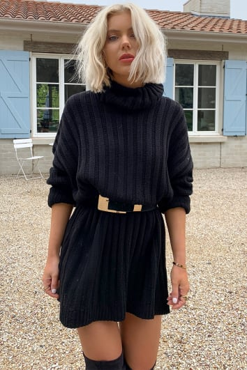 LAURA JADE BLACK OVERSIZED CHUNKY KNITTED JUMPER DRESS WITH SIDE SPLITS