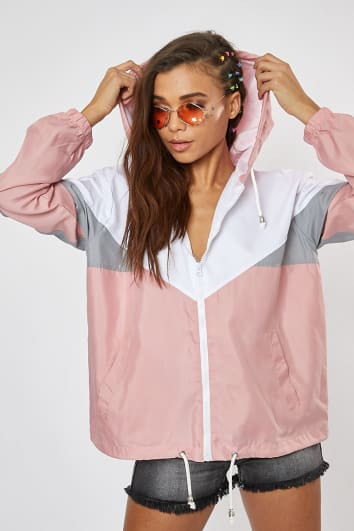 TERESAH PINK COLOURBLOCK WINDBREAKER