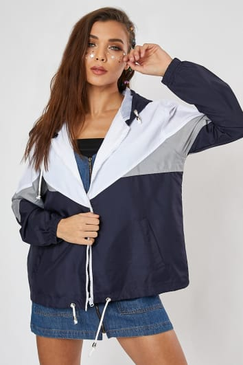 TERESAH NAVY COLOURBLOCK WINDBREAKER