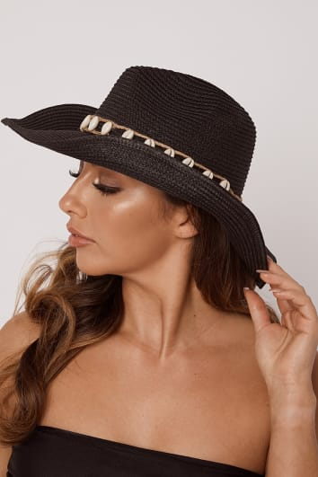 BLACK SEA SHELL WIDE BRIM HAT