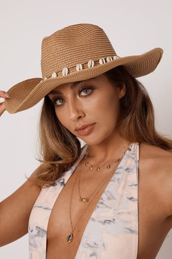 BROWN SEA SHELL WIDE BRIM HAT