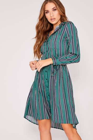ENDRIA GREEN STRIPE POCKET DETAIL TIE FRONT DRESS