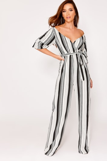 GLORI WHITE STRIPE RUFFLE SLEEVE PLUNGE JUMPSUIT