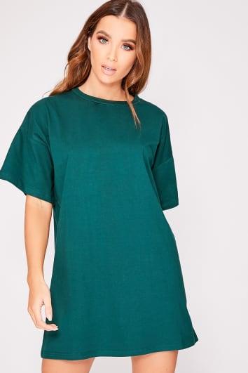 CYNDI FOREST GREEN BASIC T SHIRT DRESS