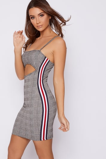 SUI GREY CHECKED CUT OUT STRIPE TAPE BODYCON DRESS