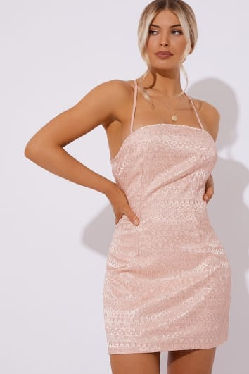 DEVON LIGHT PINK JACQUARD LACE UP BACK DRESS