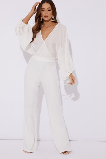 NOOMAI WHITE WIDE LEG TROUSERS
