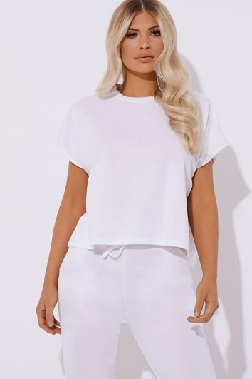 ONOMAH WHITE OVERSIZED CREW NECK TEE