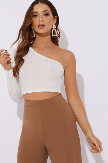KINDLE WHITE RIBBED ONE SLEEVE CROP TOP