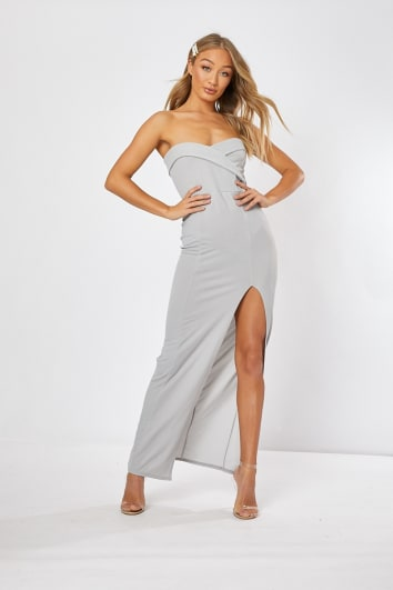 5447e3015491 KELSEE LIGHT GREY SPLIT FRONT MAXI DRESS