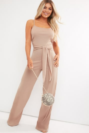 REED CAMEL RIBBED WIDE LEG TIE WAIST JUMPSUIT