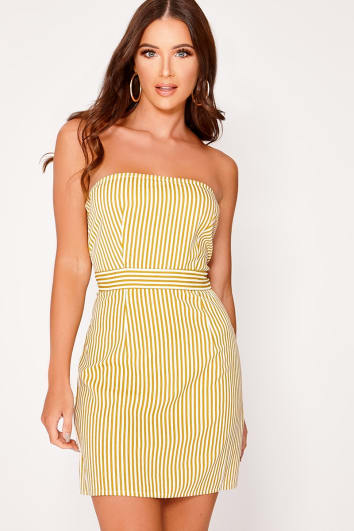 daefe4549c42 image of DIELLIA YELLOW STRIPED BANDEAU DRESS with sku 84372