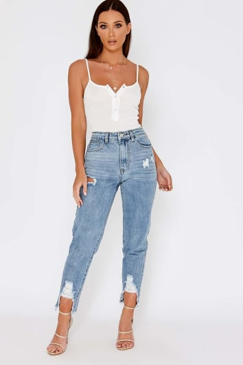 HALAH LIGHT WASH HIGH WAISTED DISTRESSED HEM MOM JEANS