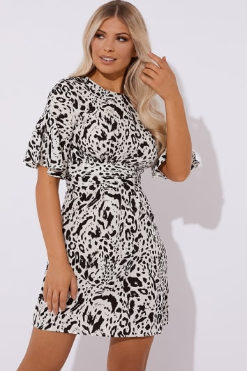 KAILANI WHITE LEOPARD PRINT MINI DRESS