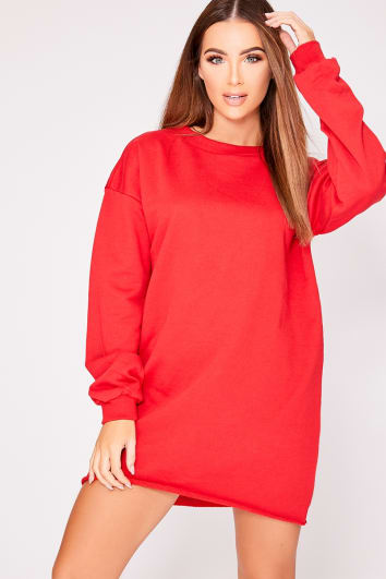 LOUNA RED OVERSIZED SWEATER DRESS