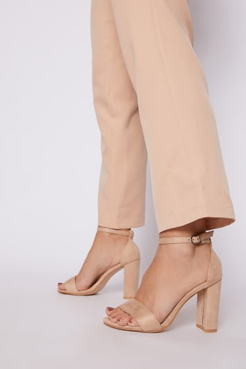 MORGAN NUDE FAUX SUEDE ANKLE STRAP BARELY THERE BLOCK HEELS