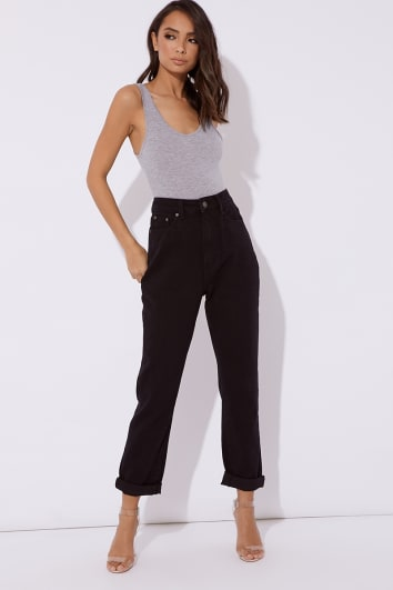 MAVRIC BLACK OVERSIZED MOM JEANS