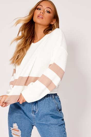 BILLIE FAIERS CREAM AND NUDE STRIPE JUMPER