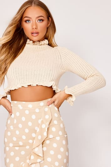 BILLIE FAIERS CREAM RUFFLE KNIT JUMPER
