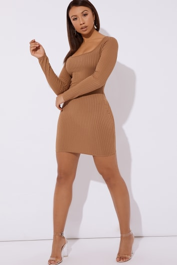CLAUDIEH CAMEL RIBBED SQUARE NECK BODYCON DRESS