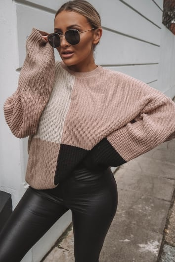SARAH ASHCROFT NUDE MULTI COLOUR BLOCK OVERSIZED KNITTED JUMPER