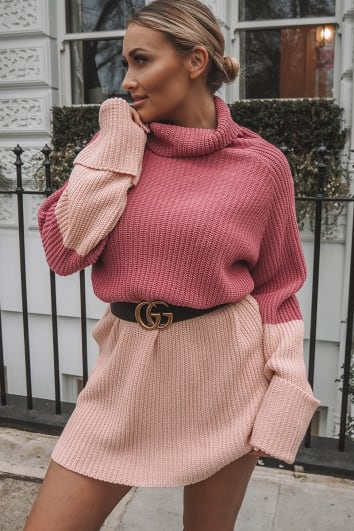 SARAH ASHCROFT PINK CONTRAST PANEL HIGH NECK KNITTED JUMPER DRESS