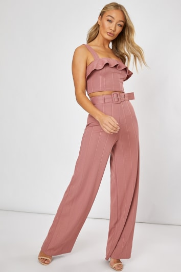 96c2b31d4cf28 BILLIE FAIERS BLUSH PINK BANDAGE BELTED WIDE LEG TROUSERS