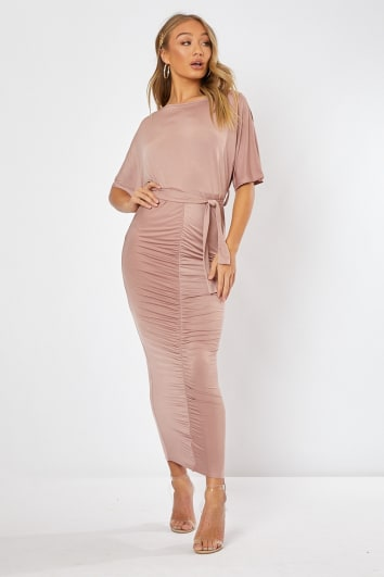 f18bf211365068 KAIA PINK SLINKY RUCHED BELTED MAXI DRESS