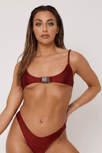 LINDSAY OX BLOOD BUCKLE MICRO BIKINI TOP