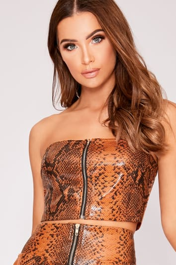 JAZDEN BROWN PU SNAKE PRINT BANDEAU CROP TOP
