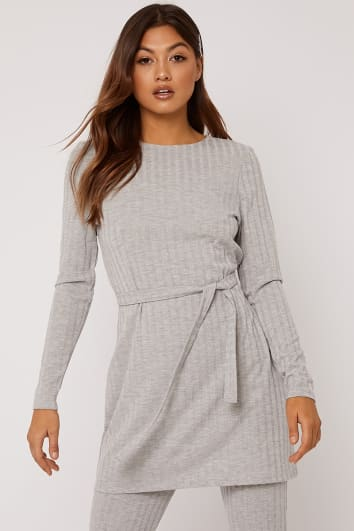 c051925fa91b LINELLE GREY MARL RIBBED LONGLINE TOP