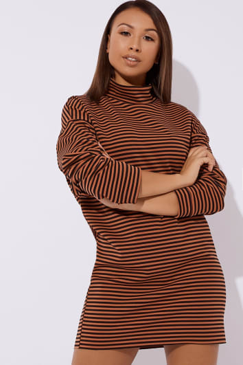 DOCIE RUST STRIPE SLOUCHY HIGH NECK MINI DRESS