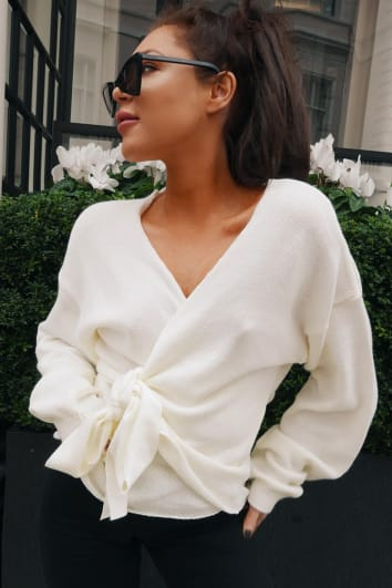 LORNA LUXE 'BUT FIRST' CREAM WRAP CARDIGAN